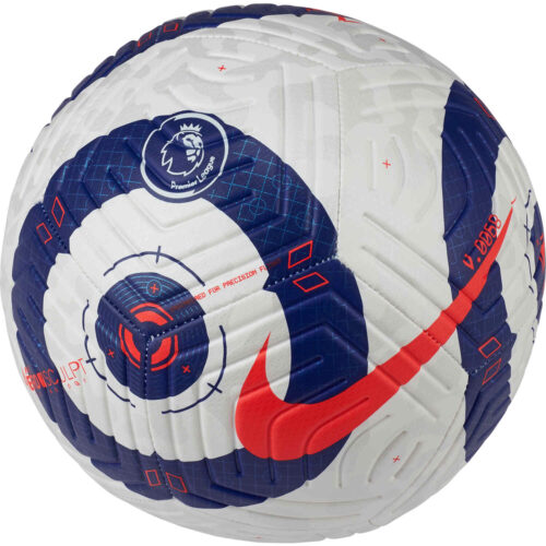 Nike Premier League Strike Soccer Ball – White & Blue with Laser Crimson