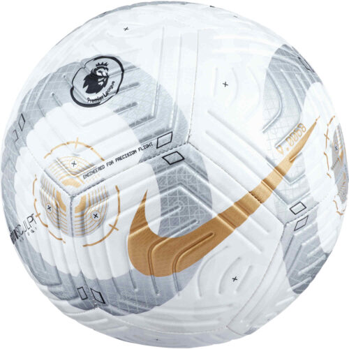 Nike Premier League Strike Soccer Ball – White & Silver with Gold