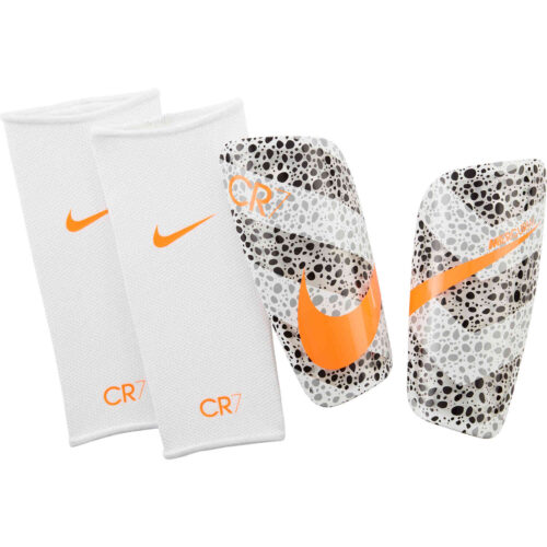 Nike CR7 Mercurial Lite Shin Guards – White & Black with Total Orange