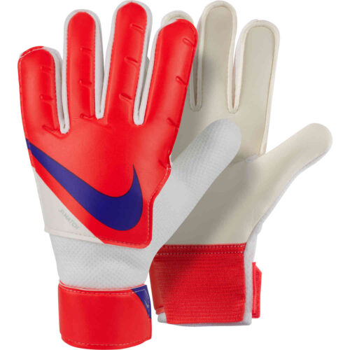 Kids Nike Match Goalkeeper Gloves – Bright Crimson & Platinum Tint with Indigo Burst