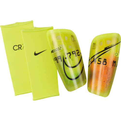Nike M Series Mercurial Lite Shin Guards – Lemon Venom & Total Orange with Black