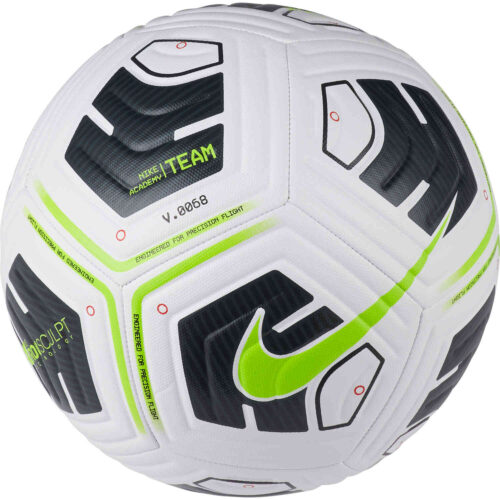 Nike Academy Soccer Ball – White & Black with Volt