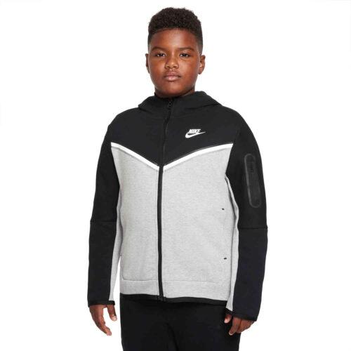 Kids Nike Sportswear Tech Fleece Full-zip Hoodie – Black/Dark Grey Heather/White
