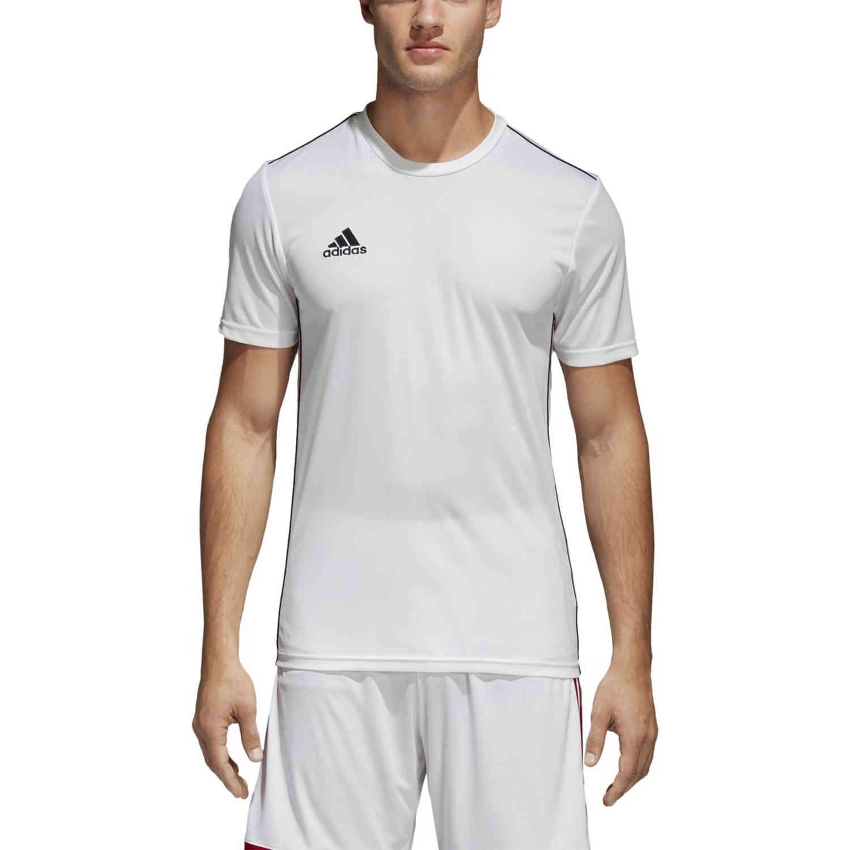 adidas Core 18 Training Jersey - White/Black - SoccerPro