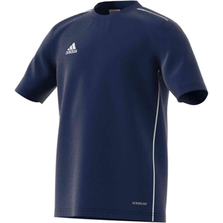 Kids adidas Core 18 Training Jersey - Dark Blue/White - SoccerPro