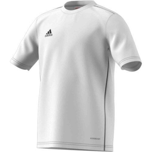 Kids adidas Core 18 Training Jersey – White/Black