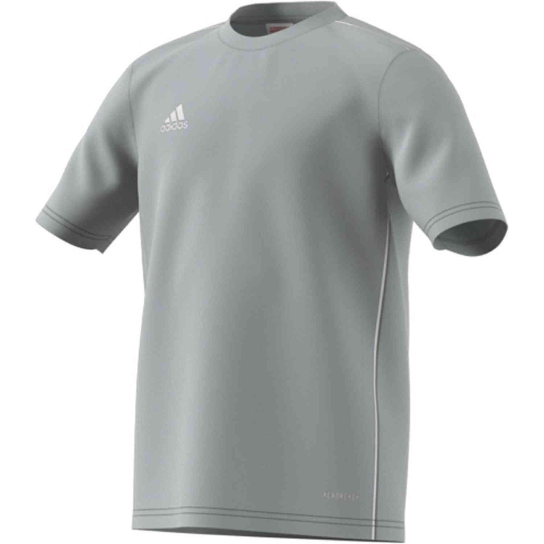 Kids adidas Core 18 Training Jersey - Stone/White - SoccerPro