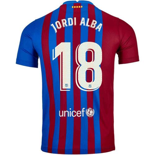 2021/22 Kids Nike Jordi Alba Barcelona Home Jersey