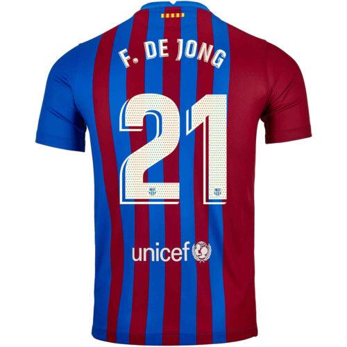 2021/22 Kids Nike Frenkie De Jong Barcelona Home Jersey