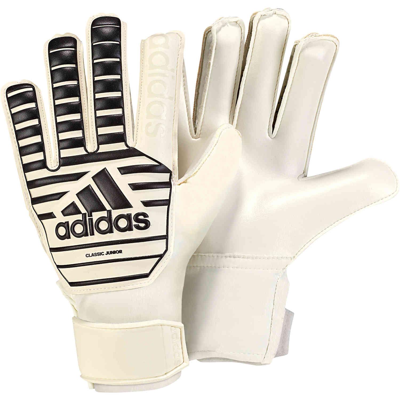 adidas Classic Goalkeeper Gloves - Youth - White Black - SoccerPro 5a88e665c