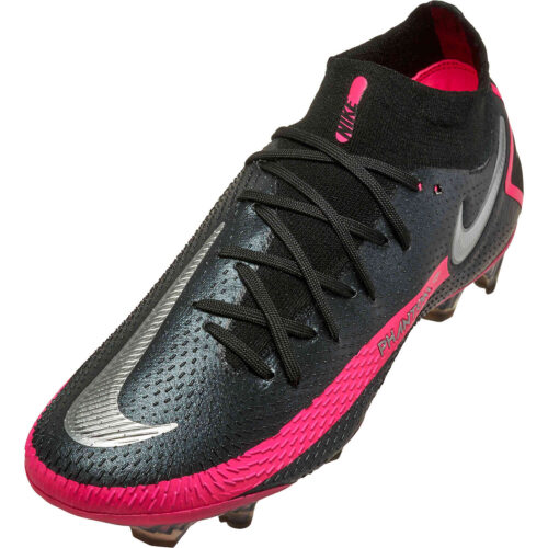 Nike Phantom GT DF Elite FG – Black & Metallic Silver with Pink Blast