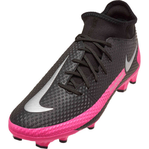Nike Phantom GT DF Academy FG – Black & Metallic Silver with Pink Blast