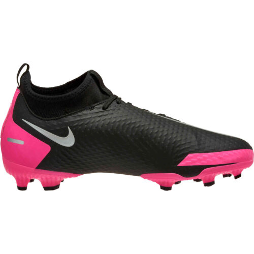 Kids Nike Phantom GT DF Academy FG – Black & Metallic Silver with Pink Blast
