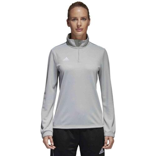 Womens adidas Core 18 1/4 zip Training Top – Stone/White