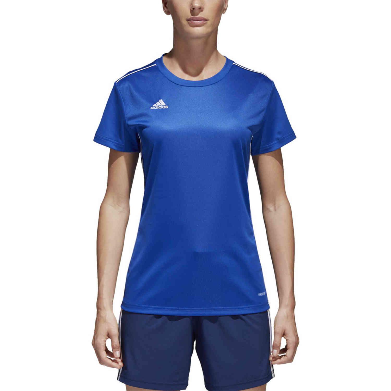 Womens adidas Core 18 Training Jersey - Bold Blue/White - SoccerPro