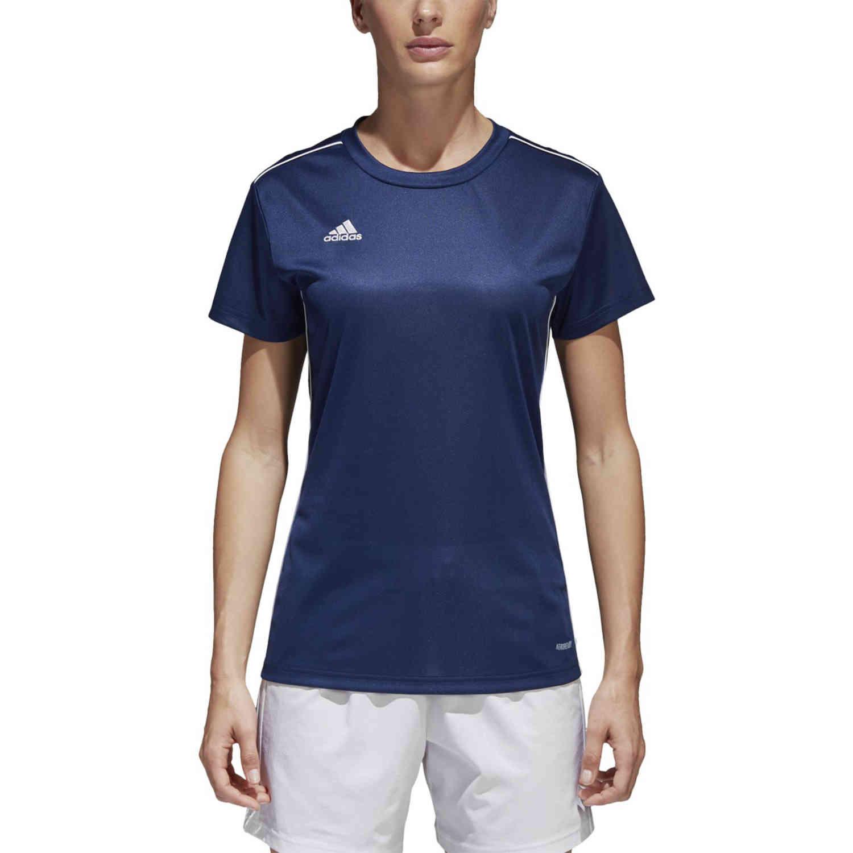 Womens adidas Core 18 Training Jersey - Dark Blue/White - SoccerPro
