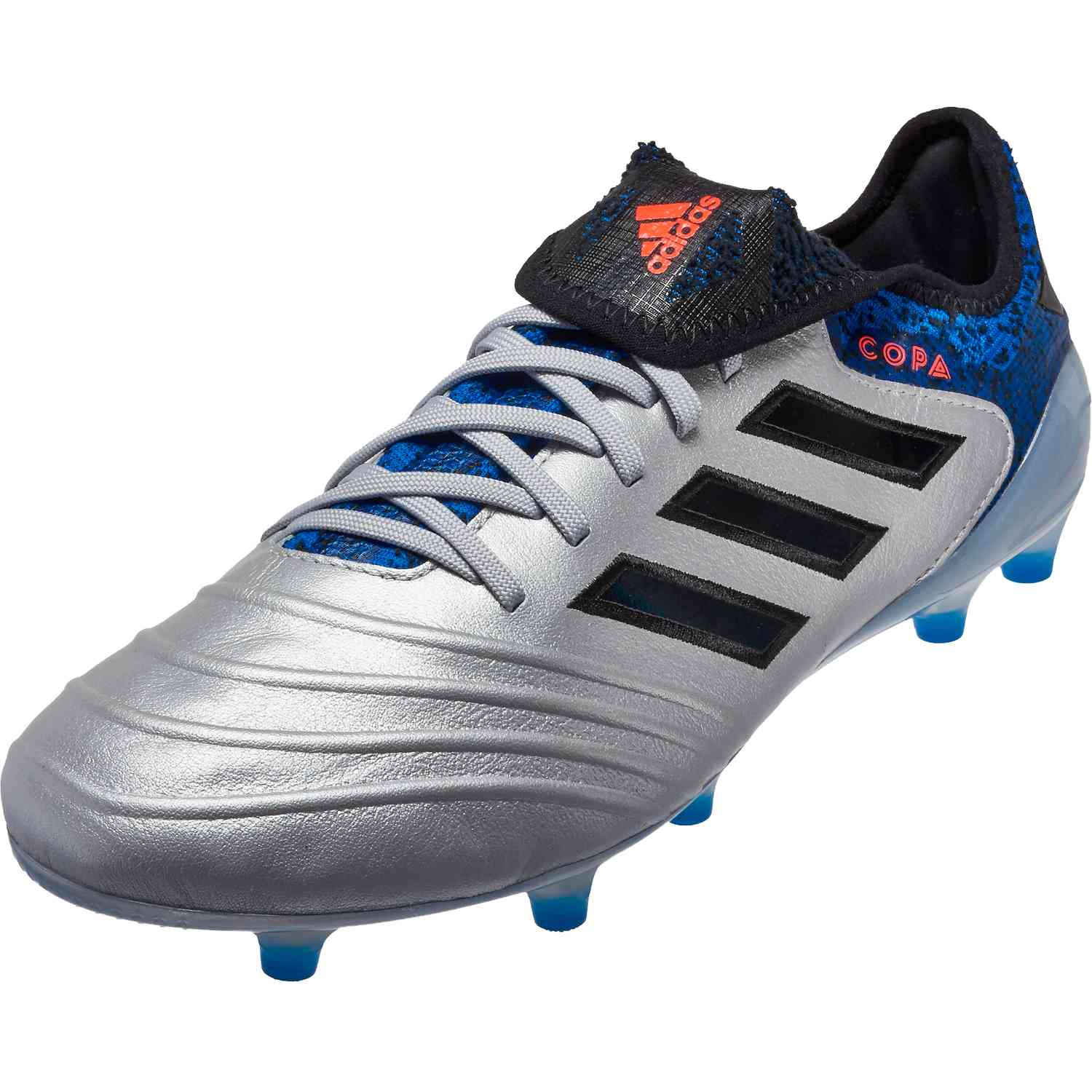 2fa619a957b adidas Copa 18.1 FG - Silver Metallic Black Football Blue - SoccerPro