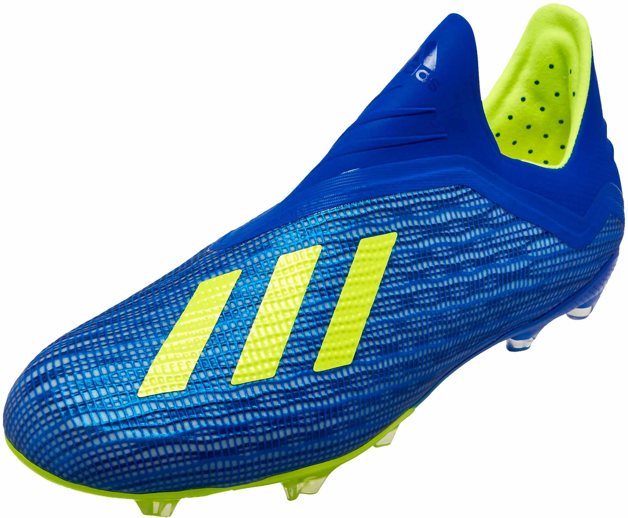 adidas X 18 FG - Youth - Football Blue Solar Yellow - SoccerPro 2ddfd882d946