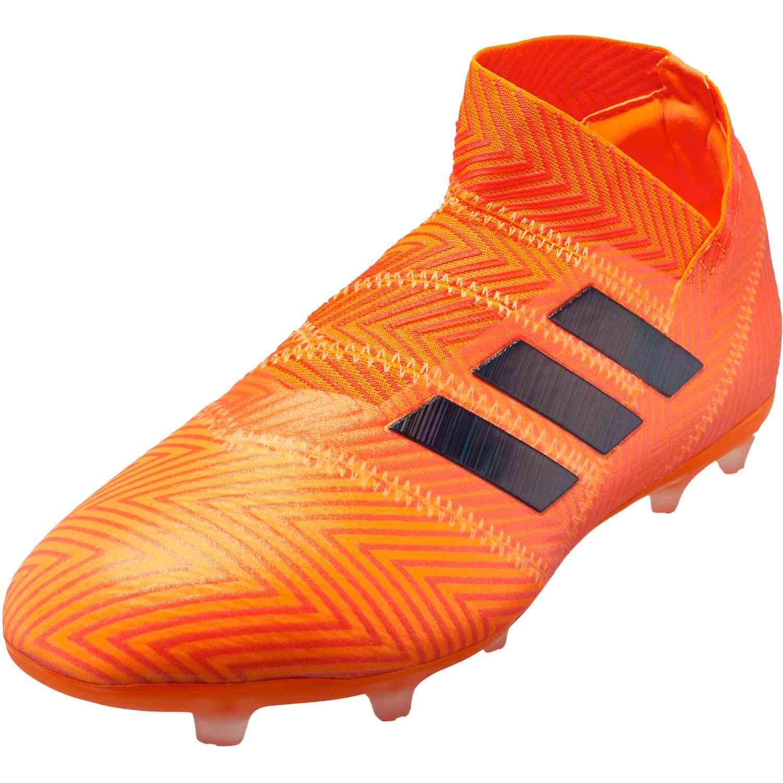 f9d28b41f3d0 adidas Nemeziz 18 FG - Youth - Zest Black Solar Red - SoccerPro