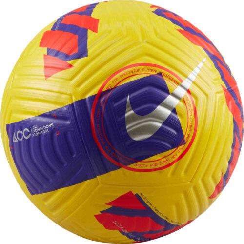 Nike Flight Premium Match Soccer Ball – Yellow & Purple with Bright Crimson