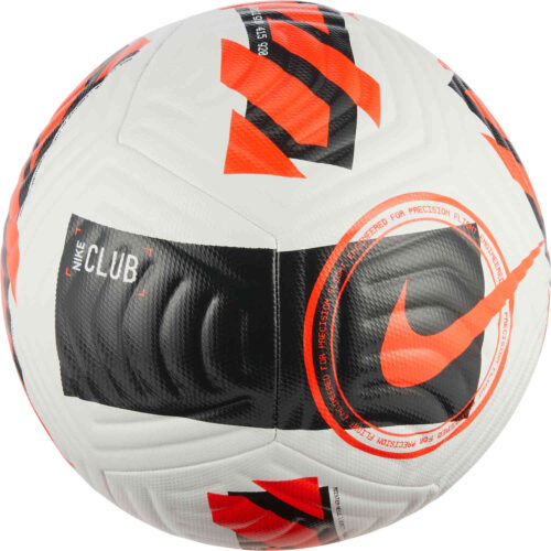 Nike Club Soccer Ball – White & Black with Bright Crimson