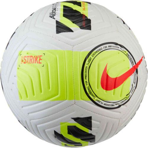 Nike Strike Soccer Ball – White & Volt with Bright Crimson