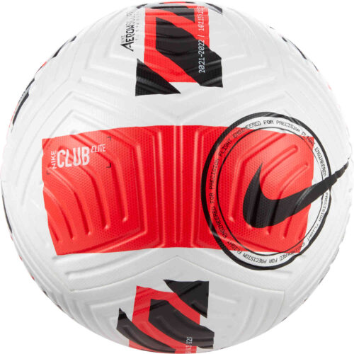 Nike Club Elite Match Soccer Ball – White & Bright Crimson with Black