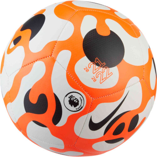 Nike Premier League Pitch Soccer Ball – White & Hyper Crimson with Black with Black