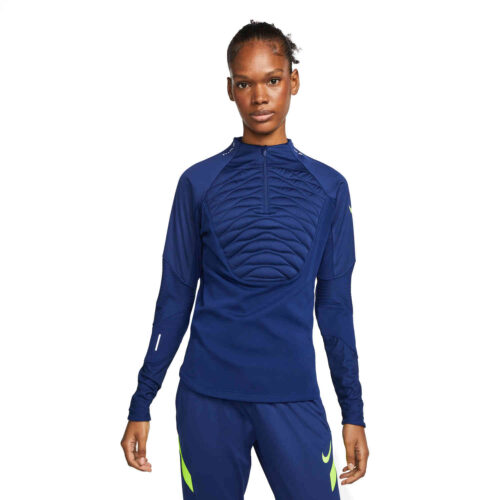 Womens Nike Winter Warrior Strike Padded Drill Top – Blue Void/Deep Royal Blue/Volt