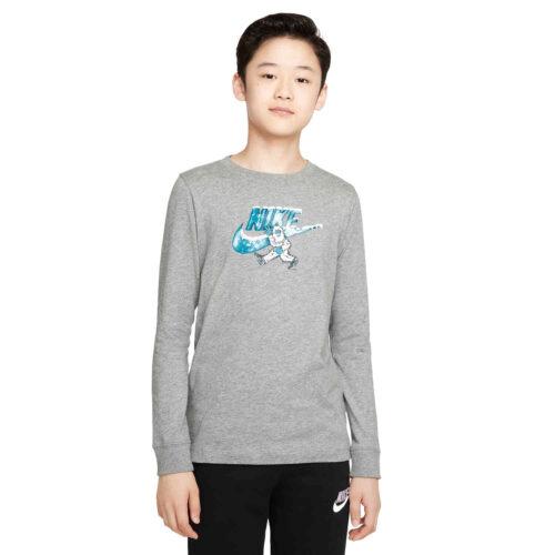 Kids Nike Swoosh-yeti L/S Tee – Dk Grey Heather