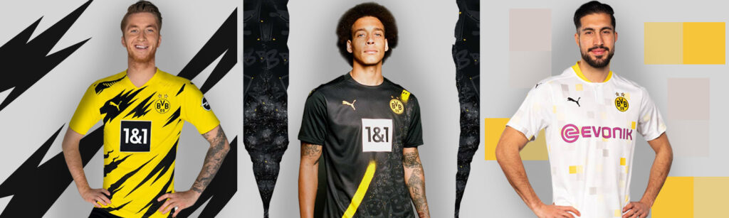 home away and third borussia dortmund jerseys