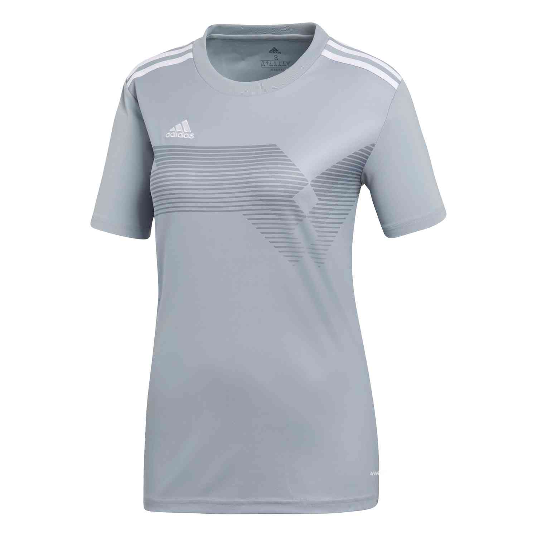 Womens adidas Campeon 19 Jersey - Light Grey/White - SoccerPro