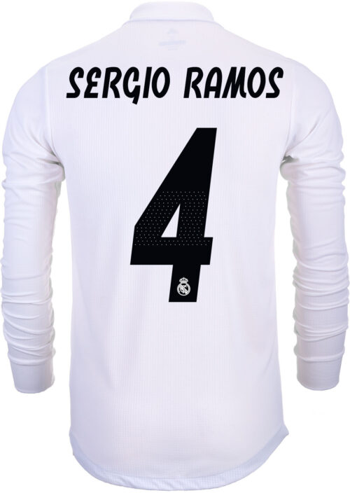adidas Sergio Ramos Real Madrid Home Authentic L/S  Jersey 2018-19