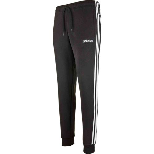 adidas Essentials Lifestyle 3-Stripes Fleece Pants – Black/White