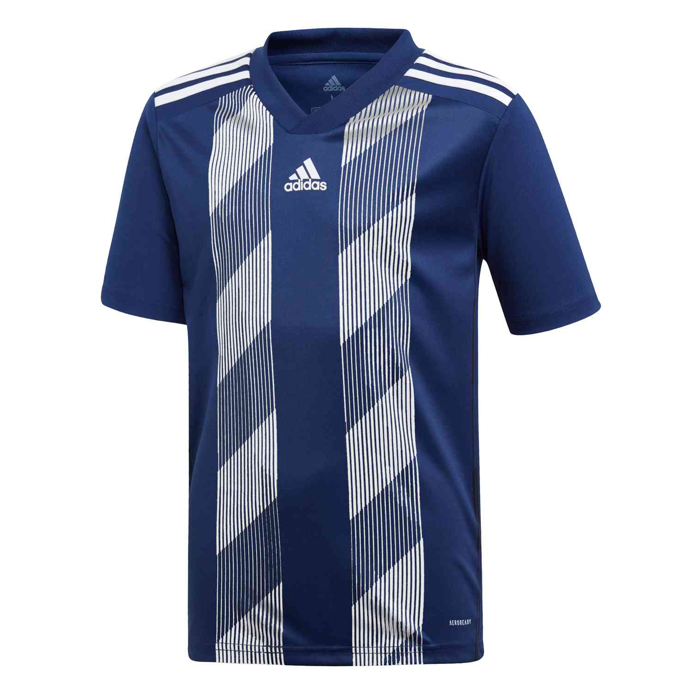 Kids adidas Striped 19 Jersey - Dark Blue/White - SoccerPro