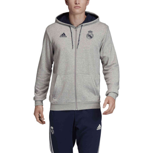 adidas Real Madrid Full Zip Hoodie – Medium Grey Heather/Night Indigo