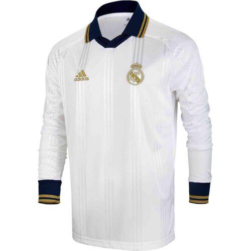 adidas Real Madrid L/S Retro Jersey – White/Black