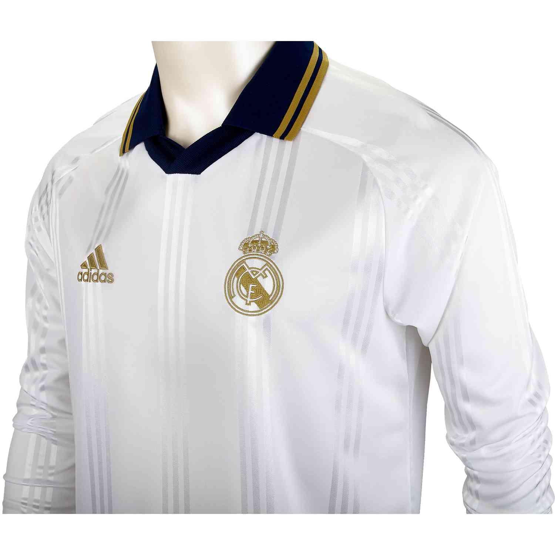 64963d2848ac4 adidas Real Madrid L/S Retro Jersey - White/Black - SoccerPro