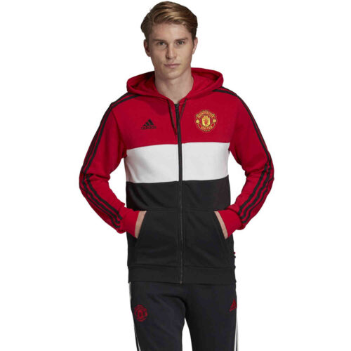 adidas Manchester United Full Zip Hoodie – Real Red/White/Black
