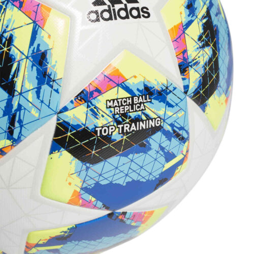 adidas UCL Finale Top Trainer Soccer Ball – White & Bright Cyan with Solar Yellow with Shock Pink