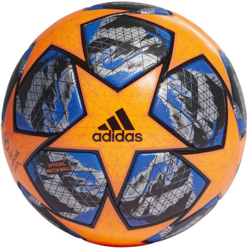 adidas UCL Finale Winter Official Match Soccer Ball – Solar Orange & Black with Football Blue with Silver Metallic