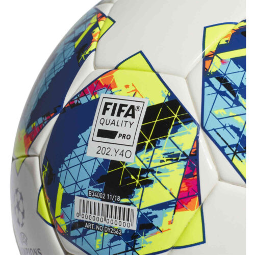 adidas UCL Finale Competition Match Soccer Ball – White & Black with Hi-Res Red with Silver Metallic