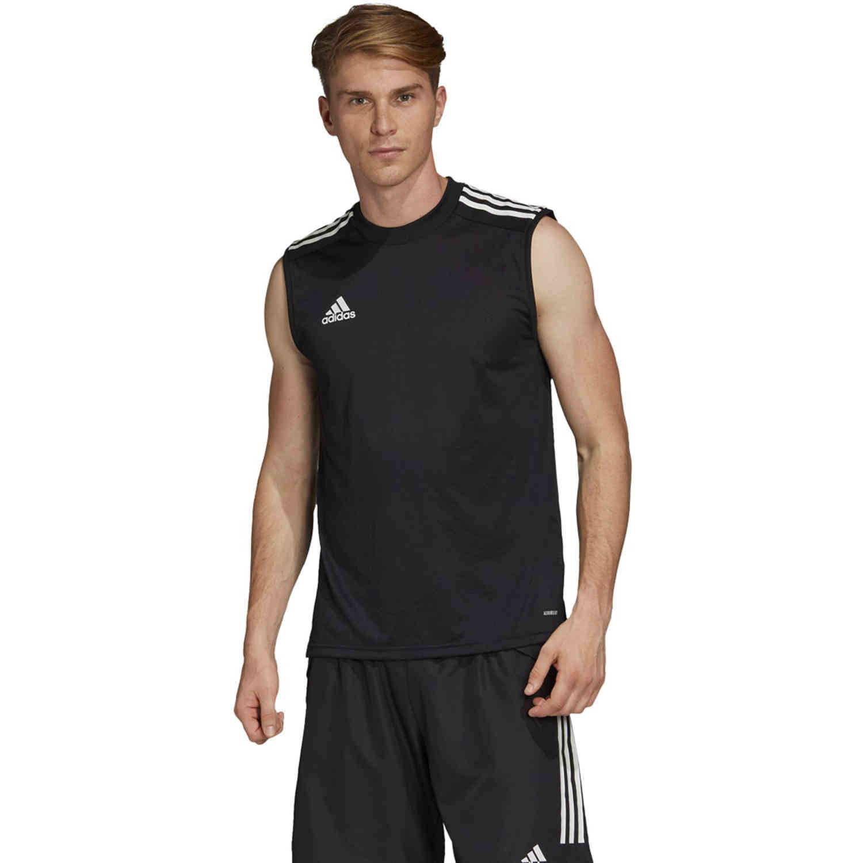 adidas Condivo 20 Sleeveless Training Jersey - Black/White - SoccerPro
