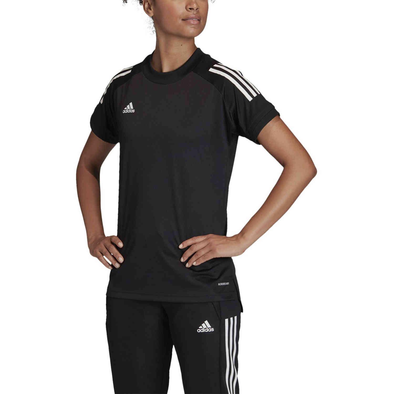 Womens adidas Condivo 20 Training Jersey - Black/White - SoccerPro