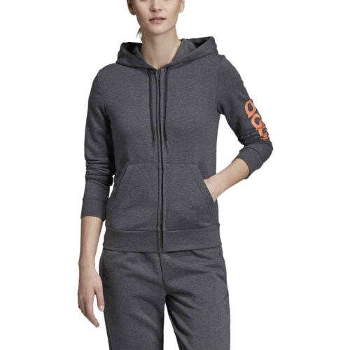 Womens adidas Essentials Lifestyle Full-zip Hoodie – Dark Grey Heather/Semi Coral
