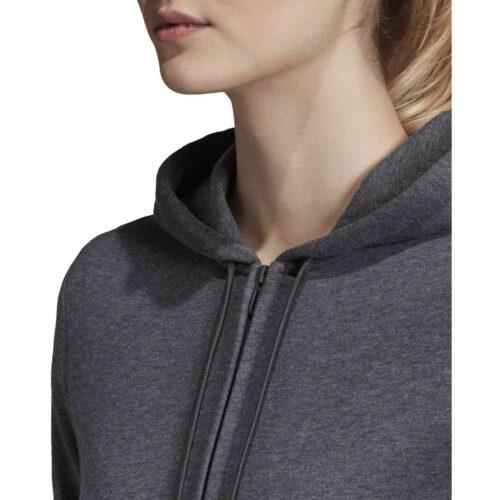 Womens adidas Essentials Lifestyle Full-zip Hoodie – Dark Grey Heather/Semi Coral