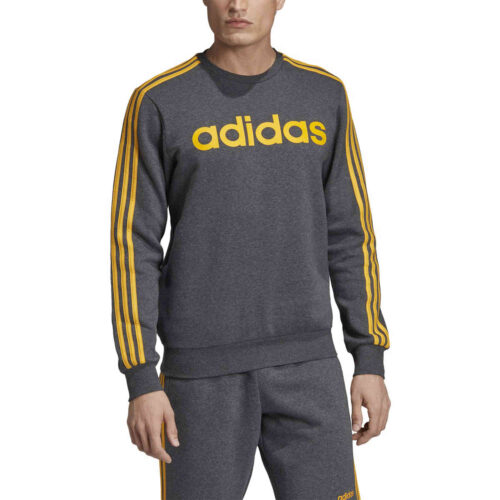 adidas Essentials Lifestyle 3-Stripes Fleece Crew – Dark Grey Heather/Active Gold