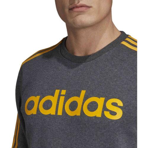 adidas Essentials Lifestyle 3-Stripes Fleece Crew – Dark Grey Heather/Active Gold