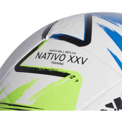 adidas MLS Training Soccer Ball – White & Solar Green with Glory Blue with Silver Metallic
