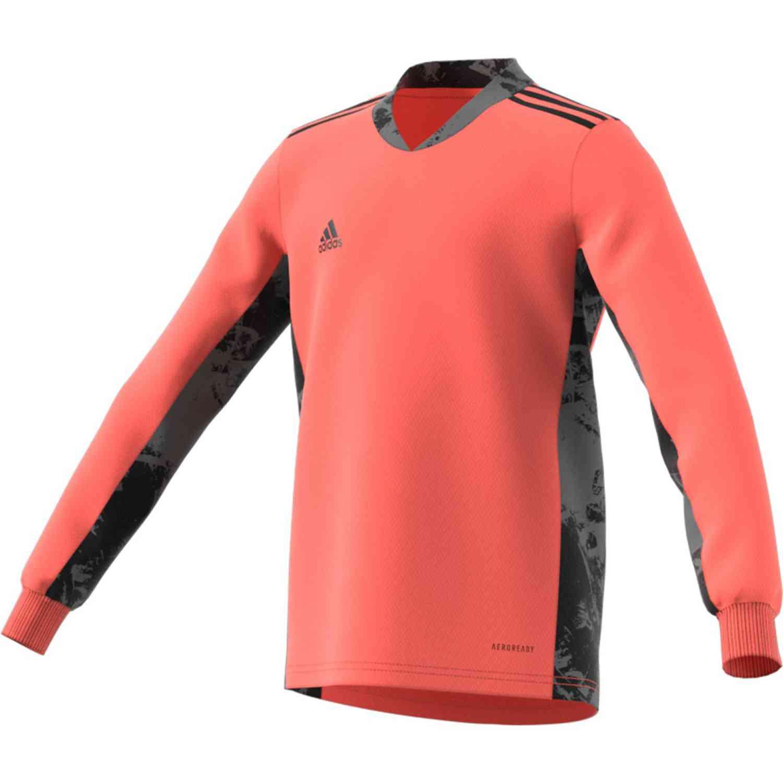 Kids adidas adipro 20 L/S Goalkeeper Jersey - Signal Coral/Black ...